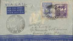 "(Brazil) Scarce LATI  F/F Rio de Janero to Buenos Aires, 28/7 arrival ds verso, blue/grey LATI publicity cover with white embedded gullwing, franked 1.600R, special ""Vol Inaugural Brasil-Argentina"" cachet, Valued at 1000 punti (c £400), Longhi 1998."