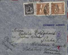 "(Chile) Chile to Bohemia & Moravia, flown by LATI, censored WWII airmail cover addressed to Sra. Goldschmied, Santiago to Prague, b/s, franked 12P 60c, canc Santiago/Correo Aereo 24 Jun 41 cds, ms ""Via LATI/Europe"", blue 'Ad' in circle German censor mark, indicating inspected in Munich, but not opened, also German ring with number 22 censor mark. Correctly rated for LATI to Europe (see Beith p41). Carried by Syndicato Condor to Rio, LATI to Rome, then DLH to Germany."