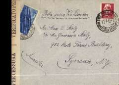 (Italy) Italy to USA, censored  WWII airmail cover, Milan to New York, franked 4L, ms 'Por Aerea via Lisbon'. Carried by LATI shuttle to Lisbon, then trans Atlantic carriage to US by Pan Am FAM 18 to New York.  Correctly rated 1.25L surface + 2.75 airmail for carriage to USA by Pan Am, see Boyle p488.  No US censorship of mail from Europe until December 1941, when USA entered the war. Pan Am westbound flights from Lisbon escaped British censorship in the Caribbean between March-September 1940 by overflying Bermuda, refuelling at Horta, then onward direct to New York. However, this particular cover managed to escape Caribbean censorship in Jan/Feb 1941. A useful comparison with LATI with regard to censorship and postal rates.