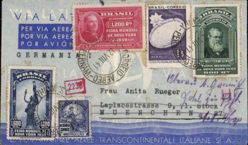 (Brazil) LATI  Brazil to Germnay, censored blue/grey propanganda envelope with white gull wing imprint, franked 6600R, sealed German cencor tape verso, also German censor marks on front. Attractive item.