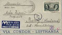 (Brazil) LATI, Brazil-Germany, censored blue/grey 'Via Condor-Lufhtansa' cover franked 5400R, very fine later blue/white 'Via Condor Lati' etiquette, also German censor marks on front.