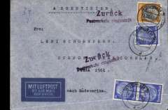 (Germany) LATI service suspended, Germany to Buenos Aires, censored cover correctly franked 175rpf for LATI, fine strike 'Zuruck/Postverkehr eingestellt (Servce Suspended)' hs, sealed German censor tape. The last East-West crossing was on 19/12/1941. Nice item.