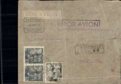 (Spain) LATI , last or penultimate East-West flight, Cambados to Buenos Aires, no arrival date stamp, via Madrid 10/12, censored registered (hs) grey imprint etiquette airmail cover franked 7P 40c (corner damage), violet framed 'Por Avion' hs, German censor mark verso. Ironed vertical and horizontal crease. The last LATI  E-W flight left on 19 December - and the one before that on 13 December.