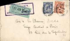 "(GB External) London to Paris, intended for carriage by Instone Air Line Ltd, plain cover franked 4 1/2d, canc Putney 5 Fe 1921, pale green/black airmail etiquette cancelled by violet framed ""No Flight/Sent By/Ordinary Service"" hs. Handley Page service to Paris ceased 17/11/1920, Daimler Airway service to Paris began 20/4/1922. Cover has clean cut across top lh corner. See scan."