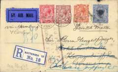 "(GB External) London to Koningsberg 14/3, redirected to Latvia, bs Liepaja 28/3, intended for carriage by Imperial Airways/?Derluft, registered (label) cover franked 7d postmarked Battersea cds, cancelled by red framed ""No Flight/Sent By/Ordinary Service"" hs, blue/black airmail etiquette."