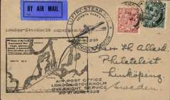 "(GB External) Return of First Trial Night Air Mail Flight, London to Stockholm, bs Linkoping 21/6, franked 5 1/2d, large black circular ""plane"", uncommon large black Aero Field map, and black four line flight cachets,  Francis Field authentication hs verso, ABA.."