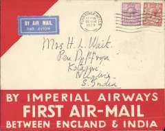 (GB External) Imperial Airways, London to Kotagiri, Southern India, 1100 miles SE Karachi,Calcutta, bs 12/4, carried on F/F Croydon to Karachi, cover with white 'Air Mail' text on large red arrow correctly rated 7 1/2 canc Tunbridge Wells cds, white/pale blue airmail etiquette. Uncommon destination.