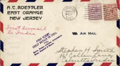 "(GB External) Imperial Airways, London to Calcutta, bs 9/4, carried on F/F Croydon to Karachi, AC Roessler airmail corner cover correctly rated 7 1/2 canc London FS cds, exceptionally fine strike uncommon violet ""First Flight/Great Britain to India/Via/Basle, Rome, Athens, Alexandria/Gaza, Baghdad & Basra"" flight cachet, violet circular 'Imperial Airways/House/London' hs on front, addressed to, in the hand of, Stephen Smith, and bears his facsimile signature verso. This uncommon cachet shows all the major stops en route."
