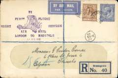 "(GB External) SABENA/Imperial Airways 1st night flight London to Brussels, bs 14/4, 15/4, registered (label) cover franked 7 1/2d, fine strike elaborate violet six line ""By/First Flight/Night Service/Air Mail/London to Brussels/14 April 1930"" text around image of biplane, black '256/A' postman's receiver hs, airmail etiquette."