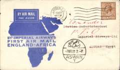 (GB External) Imperial Airways, first airmail England to Africa, London to Aswan, bs 6/3, also 7 MAR 31 arrival ds on front, official blue/white 'map' souvenir cover, franked 5d, canc London FS/Air Mail cds, violet 'Imperial Airways House/London' hs verso.