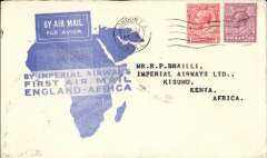 (GB External) Imperial Airways F/F London to Kisumu, bs 10/3, flown on inaugural England-East Africa service, blue/white souvenir 'Map' cover, correctly rated 7d, violet circular 'Imperial Airways/House/London' hs verso.