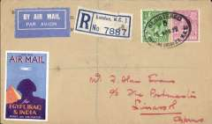 "(GB External) London to Limassol, no arival ds, registered (label) cover franked 6 1/2d canc London Air Mail cds, airmail etiquette, atrractive blue/orange purple'yellow ""Use the Air Mail/for Egypt, Iraq & India"" Imperial Airways vignette."
