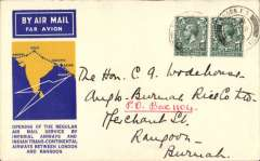 (GB External) F/F London to Rangoon, bs 1/10, official blue/yellow souvenir cover, franked 8d, Imperial Airways/Indian Trans-Continental Airways.