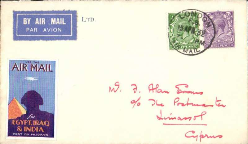 """(GB External) London to Limassol, no arival ds, registered (label) cover franked 6 1/2d canc London Air Mail cds, airmail etiquette, atrractive blue/orange purple'yellow """"Use the Air Mail/for Egypt, Iraq & India"""" Imperial Airways vignette."""