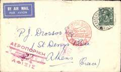 (GB External) London to Athens, bs 2/10, via Berlin 30/9, airmail etiquette cover franked 4d, red circular 'Mit Luftpost Befordert/Berlin C2' transit/receiver cachet, red Athens 'Biplane' arrival cachet. Via London-Germany air service, then the night train from Munich. Uncommon.