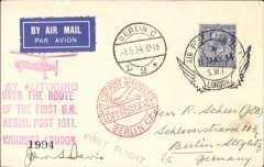 """(GB Internal) Apex International Air Post Exhibition, special souvenir PPC with drawing of  autogiro, black imprint Exhibition vignette, blue """"By Autogiro"""" label and violet Apex 1934 cachet, flown by autogyro from Windsor to London, then posted at the Exhibition Post Office and flown to Berlin, Berlin L2 9.5.34 arrival ds on front and red 'Mit Luftpost Befordert/Berlin C2' receiver, franked 2 1/2d canc official Exhibition postmark 8 May 34, red 'Apex 1934/London 7-12 May' cachet, and large """"By Autogiro/Over the Route/of the First UK/Aerial Post 1911/Windsor London"""". Super item in fine condition."""