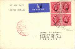 (GB External) FDI block of 4 KGV 1d scarlet, SG 119, on airmail cover from London to Germany, bs 24/9, 50% strike 'Mit Luftpost Befordert/Berlin C2' receiver, airmai etiquette.