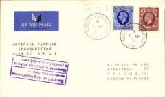 (GB External) First London to Prague stage, bs 2/4, of F/F London-Budapest, plain cover franked 4d, black three line flight cachet, Imperial Airways.