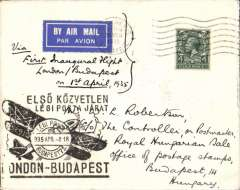 (GB External) F/F London to Budapest, rated 4d, bs 2/4, (held up by bad weather, special black cachet applied on arrival), Imperial Airways.