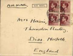 (India) Airmail posted from a paquebot in the Indian Ocean, to London, no arrival ds, 4th/7th Royal Dragoon Guards envelope with embossed logo on flap, franked KE VIII  1 1/2 block of 4, canc 'Bombay Foreign/10 Nov 36/Paquebot', black framed 'Air Mail' hs. Nice item.