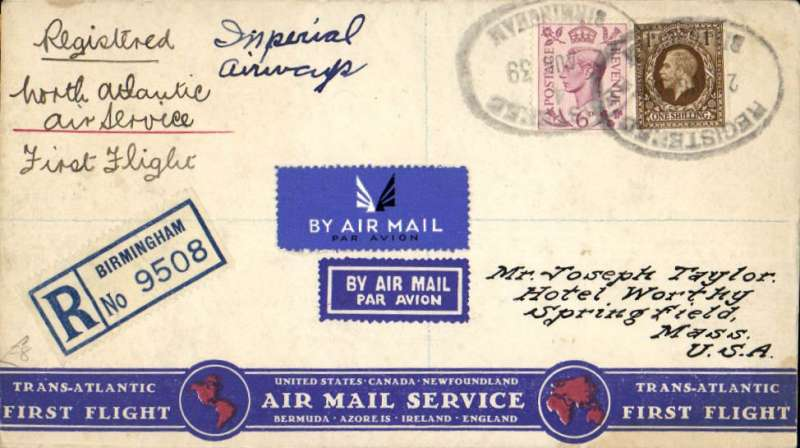 (GB External) F/F Imperial Airways North Atlantic Service, Southampton to New York, bs 7/8, attractive registered (label) red/white/blue Trans-Atlantic First Flight cover franked 1/6d, ms 'North Atlantic Air Service/First Flight'. Registered covers are scarce.
