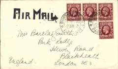 """(India) Uncommon paquebot airmail cover at sea, posted from British liner with GB stamps and Indian postmark, (Indian Ocean) to London, no arrival ds, P&O Compamy cover with logo on flap, franked GB 1 1/2d x4, canc 'Bombay Foreign/26 ep 35/Paquebot' double ring cds, large black square topped (possibly unlisted) """"Air Mail"""" directional hs. A nice item for the specialist."""