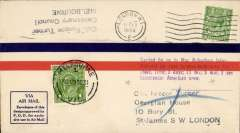 (GB External) London-Melbourne Air Race, airmail cover postmarked London October 11, 1934 and with arrival d/s Melbourne October 29 on front, special four line flight cachet. Roscoe Turner and Clyde Pangborn, an American crew, flew a Boeing 247-D ?Warner Bros. Comet?. They placed third overall and 2nd in the speed category.
