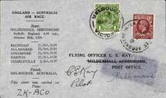 "(GB External) MacRobertson Air Race, England-Australia-New Zealand, Mildenhall  depart cds, Melbourne 3/11 arrival ds, official black/grey printed cover carried by Hewitt, Kay and Stewart in Dragon Rapide ""Tanui"", signed by CE Kay. Shadow imprint from overlying address label - detracts somewhat, but still a nice cover."