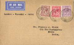 "(GB External) Imperial Airways, F/F following the official announcement of the extension UK-India route to Johdpur and Delhi, London to Delhi, b/s 7/1, typed ""London-Karachi-Delhi"", etiquette cover. Francis Field authentication hs verso."