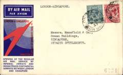 (GB External) F/F London to Singapore, via Paris, Cairo, Karachi, Calcutta and Rangoon, no b/s, official blue/red speedbird cover, Imperial Airways