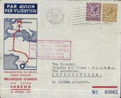 (GB External) Imperial Airways/Sabena first GB acceptance for the Belgian Congo for carriage on the first regular Sabena Brussels-Leopoldville service, London to Leopoldville, bs 28/2, via Paris 22/2, red/grey/blue souvenir cover correctly rated 1/3d, canc Croydon 21/2/35 cds, carried by 21/2 Imperial Airways flight to Paris, from where it was carried by train to Marseilles to pick up the Sabena Congo service. Francis Field authentication hs verso.
