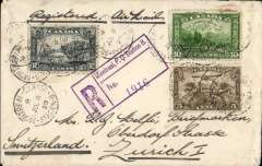 (Canada) St. Lawrence Seaway  North Atlantic air-sea acceleration service 1927-39, early outward mail from Canada to GB via Rimouski, Montreal to Zurich, bs 19/7, registered (label) cover franked 27c (13c to Europe including air in Canada + 10c registration + 2c air fee London to destination). The 'St. Lawrence Seaway Air Mail Service', a 27 page A5 illustrated article by Beith R accompanies this item offering a great opportunity to research this little known service.