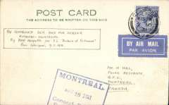 (GB External) St. Lawrence Seaway  North Atlantic air-sea acceleration service 1927-39, early inward mail from GB to Canada via first dispatch of SS Duchess of Richmond from Glasgow (9/5) and Rimouski, Glasgow to Montreal, bs 16/5, airmail etiquette PC correctly rated 2 1/2d, ( to include airmail surcharge). The 'St. Lawrence Seaway Air Mail Service', a 27 page A5 illustrated article by Beith R accompanies this item offering a great opportunity to research this little known service.