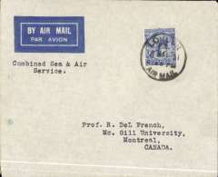 (GB External) St. Lawrence Seaway  North Atlantic air-sea acceleration service from GB to Canada 1927-39, first flight of the re-opened service (Baldwin #284) following its closure in early 1931 due to the Great Depression, London to Montreal, airmail etiquette cover correctly rated 2 1/2d, (to include airmail surcharge), canc London FS/Air Mail, Francis Field authentication hs verso. The 'St. Lawrence Seaway Air Mail Service', a 27 page A5 illustrated article by Beith R accompanies this item offering a great opportunity to research this little known service. A super item.