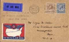 "(GB External) London to Minneapolis, USA, first acceptance of UK mail for carriage via US airlines via S.S. Aquitania to New York, faint 'Foreign Section' hs verso, then internal air to Minneapolis, bs May 17 1925, plain cover franked 7 1/2d postmarked 'London EC/May 8 1925/British Empire/Exhibition/May -1925 - Oct', machine cancel, fine strike violet three line ""England-USA/First Service/May 9th 1925"" cachet"", impressive red/white/blue ""This was sent by Air Mail"" vignette. A superb early item in fine condition."