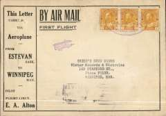 (Canada) F/F Estevan to Winnipeg, bbs 1/10, printed souvenir cover advertising the region around Estevan, franked 3c tied three line double-oval flight cachet. The pilot, EA Alton crashed his plane, en route, at Bienfait. Attractive early item.