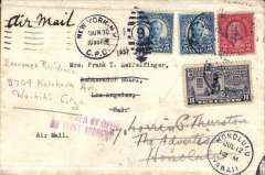 (United States) New York to Los Angeles, bs 2/7, redirected to Hawaii 12/7, plain cover franked 12c with 10c motor cycle Special Delivery stamp, violet two line 'Claimed by Office/Of First Address, ms 'Air Mail'. Uncommon.