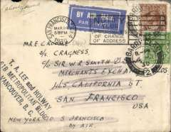 "(GB External) Early airmail cover, Barry, Great Britain, to San Francisco, 14/3 arrival ds tying airmail etiquette on the front and purple two line 'Foreign Section/M.D.G.P.O.' hs verso, plain cover franked 5 1/2d canc Barry cds, addressed to a crew member S.S. Craigness, c/o Sir WR Smith, Ships Agents, San Francisco, ms ""New York to San Francisco/By Air"".The sender intended surface mail to New York, then carriage by the by US internal air service from New York to San Francisco. Some edge wear, but interesting nevertheless."