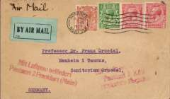 (GB External) Early airmail, London to Germany, red 'Mit Luftpost befordert/Postampt 2 Frankfurt (Main)' and red 'Mit Luftpost befordert/Postampt 2 Koln/.....Flughafen' arrival hs's on front, plain cover ranked 4 1/2d, green/black airmail etiquette.