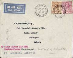 "(GB External) Imperial Airways, first flight accelerated London-Singapore service, London to Kuala Lumpur, bs 25/4, Imperial Airways cover franked 11d, typed ""By first direct air mail/England-Kuala Lumpur"". The flight was accelerated from 9 1/2 to 8 days, and stops were now made at Kuala Lumour and Penang instead of Bandon and Alor Star."