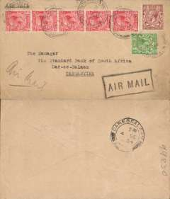 "(GB External) London to Dar es Salaam, bs 4/9, plain cover franked 7d, canc Bournemouth cds, uncommon black framed ""Air Mail"" hs."