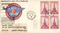 (France) Pan Am F/F Marseilles to Lisbon, bs 25/5, scarce BLACK cachet, most unusual and attractive 'Trans-Atlantic Airmail Service' cover with embedded flying boat image.