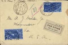 """(Italy) Merano (Italy) to Waynesboro, VA, USA, via 'Torino Ferrovia/Espressa/20.2.34' and 'Genoa-New York/Piroscafu (Steamer) Rex/21.2.34', plain cover franked 2L air and 1L25 ordinary, canc 'Merano(Bolzano)/Assic. Racc/20.2.34', light grey/black Mod 24 R airmail etiquette, ms """"S.S. Rex POsta Aerea"""". Carried by S.S. Rex to New York, then US internal airmail service to Waynesboro. The SS Rex was an Italian ocean liner which, in August 1933, captured the Blue Riband on its westbound crossing with a time of four days and thirteen hours - a recorde which lasted until 1935. Some rough opening verso."""
