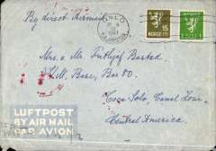 "(Norway) Scarce WWII post occupation censored airmail, Oslo to Canal Zone, no arrival ds, imprint etiquette airmail cover franked 115 ore, canc Oslo cds, ms ""By Direct Airmail"", sealed by German black/white OKW (e) censor tape tied by red OKW eagle in circle censor mark. Correctly rated 115 ore for carriage by ABA DLH through Germany to Lisbon, by Pan Am FAM 18 to New York, by US airline to Miami, then by Pan Am FAM 5 to destination. Germany occupied Norway In April 1940."