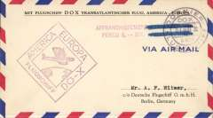 """(DO-X) DO-X New York to Berlin, bs 27/5, On Board cancellation, souvenir airmail cover, postmarked 21 Mai 32 with red """"Affranchissement Percu 6RM"""", official violet diamond 'America Europa Flugschiff DO-X cancel."""