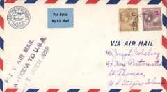 (Antigua) F/F St Johns, Antigua to Miami to St Thomas, V.I., bs 26/9, airmail cover franked 9d, three line cachet, Pan Am.