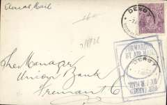 """(Australia) Early internal airmail FRONT, flown on Perth-Derby route, Derby to Freemantle, franked 4 1/2d canc Derby cds, violet boxed """"Forwarded By Air Mail"""" cachet. Example of rubber stamps introduced for airmail correspondence."""