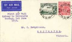 (Australia) F/F ANA Sunday service, Sydney to Melbourne, b/s Rochester 2/6, airmail cover franked 4 1/2d.