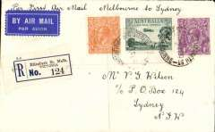 (Australia) F/F ANA Sunday service, Melbourne to Sydney, bs 2/6, registered (label) airmail etiquette cover franked 7 1/2d.
