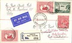 "(Australia) F/F Perth to Wyndham via Derby, bs Wyndham 14/7, reg (label) airmail etiquette cover franked  8 1/2d, ms ""Per First Aerial Mail/Perth to Wyndham via Derby"", Western Australian AW Ltd.."